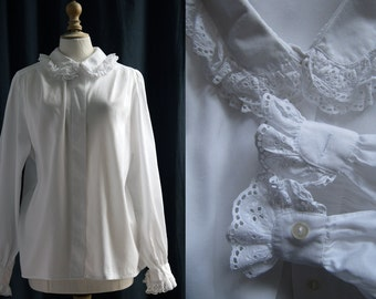 """White blouse, long sleeves, cotton, """"broderie anglaise"""" Vintage 1970's/80's"""