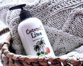 Coconut Lime Lotion with Organic Ingedients - Vegan Body Butter in a Pump Bottle - 8oz