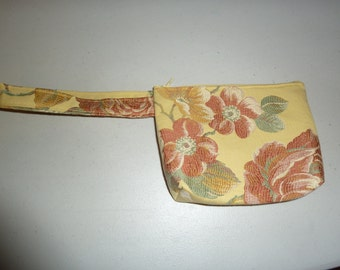 Summer Wristlet, Highland Court Designer Fabric, I-Phone/Android Wristlet,  Embroidered Look Everyday/Evening Bag,  Zipper Closure