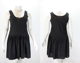 XL Black Dress - Tank Style with Drop Waist Skirt