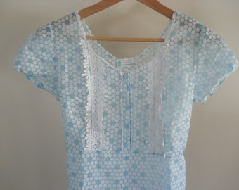 FOUND IN SPAIN -- flowery blue nightgown
