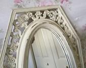 Vintage Tall Mirror - Fleur de lis design on sides - French Farmhouse - Ornate Baroque Syroco frame - Accent Mirror - 10 x 22 long