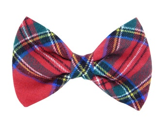 Red Blue Green Plaid Dog Bow Tie/ Flannel Collar Bow Tie: Timber Flannel