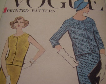 Vintage 1950's Vogue 9383 Two Piece Dress Sewing Pattern, Size 12 Bust 32