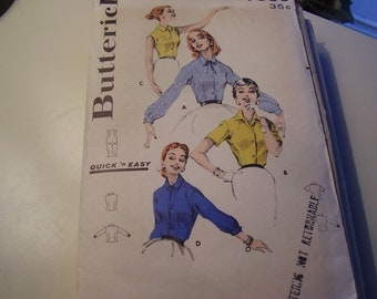 Vintage 1960's Butterick 7886 Blouse Sewing Pattern, Size 12 Bust 32