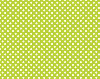 Le Creme Small Lime Dot Fabric by Riley Blake