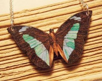 Green and Brown Wooden Butterfly Necklace