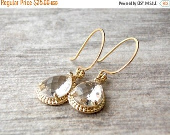 ON SALE Gold Filled and Clear Glass earrings. Wedding, Bridesmaids,Diamond Jewelry