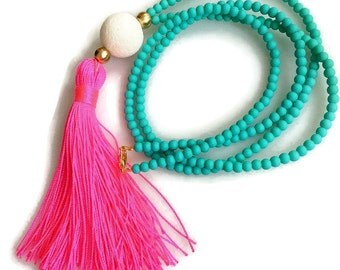 Pink and Turquoise Tassel Necklace. Long Beaded Necklace. Turquoise necklace. Neon Pink Tassel Necklace. Summer Necklace. Gift for her