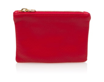 Red Leather Pouch, Leather Coin Purse, Red Credit Card Holder