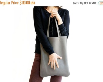 Grey leather bag, women tote bag