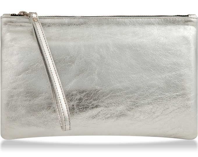 Silver wristlet wallet, women leather purse, silver leather wallet bag