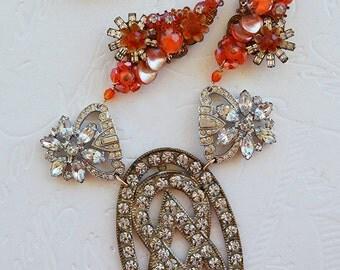 Art Deco Rhinestone Fur Clips Belt Buckle Orange Crystal Beaded Cluster Statement Necklace