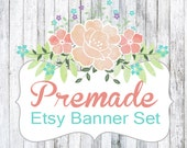 Wood and Floral Etsy Banner Set - Etsy Shop Banner and Avatar 5pc Set - Etsy Branding