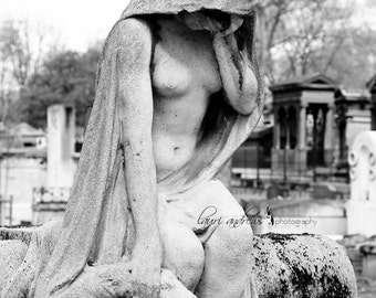 Montmartre Cemetery Art Female Statue Paris France Fine Art Photography Home Decor Black and White Photography