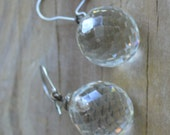 HOLD Lovely rare antique art deco crystal ball earrings / wedding / something old / OOHIIF