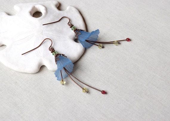 Blue Flower Earrings, Victorian Earrings, Swarovsi Earrings, Crystal Earrings, Garden Earrings, Lucite Flower Earrings