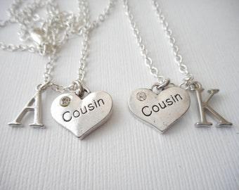 2 Cousin- Initial Best Friend Necklaces (Set)