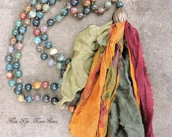 Long Hand Knotted Tassel Necklace - Jasper Gemstones - Sari Silk Tassel