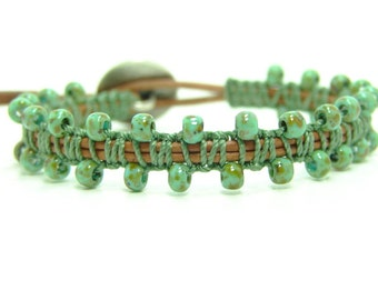 Tribal Beaded Leather Wrap Bracelet, Macrame Green Seed Bead Leather Wrap Bracelet, Single Beaded Macrame Wrap Bracelet,  Beaded Bracelet