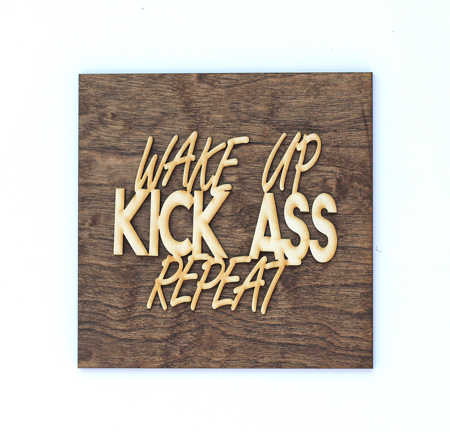 Bathroom wall decor quotes - Wake Up Kick Ass Motivational Sign Inspirational Wall Art Laser Cut Wood Sign Home Office Decor Motivational Quote Gifts For Her