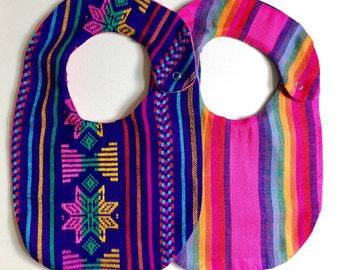 2 Pack Mexican Cambaya Bibs, Serape Baby Bibs