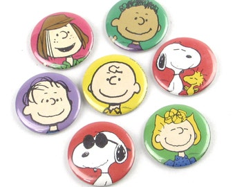 Set of Seven (7) Peanuts Characters Pinback Buttons