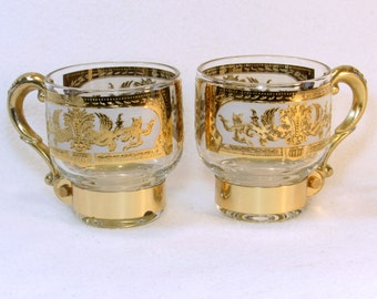 Exquist Mad Men Special Occassion Glasses - Coffee Cups - Brass Handles - Hardware - 22K Fancy Gold Gilt Design Motif Vintage Home Bar Decor