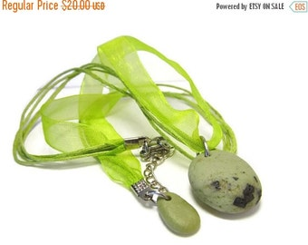 ON SALE Green Slag Glass Beach Stone Necklace, 20 Inch Ribbon and Cord, Large Stainless Steel Lobster Clasp, CELERY And Sage