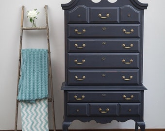 Black Queen Anne's Highboy Dresser