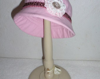 """18"""" Doll Cloche Hat with Vintage Trim and Button for Pretend Play"""