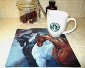 The Wild Stallions Quilted Mug Rug