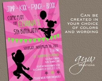 Karate Birthday Party Invitation Girl - Karate Party - Black Pink Lime - Karate invite girl silhouette Karate invitation - karate theme girl