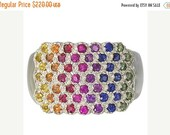 Valentines Day Sale Multicolor Rainbow Sapphire Womens Fashion Ring 925 Sterling Silver  : sku 1597-925