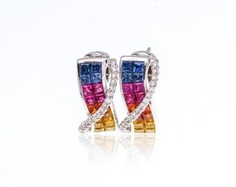 Multicolor Rainbow Sapphire & Diamond 18K Gold Earrings (3.4ct tw): SKU 22426