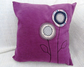 Purple Applique Flower Pillow
