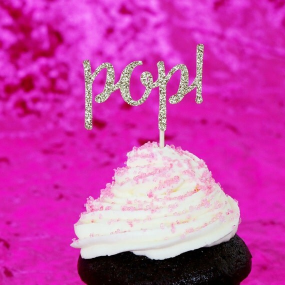 Pop! Cupcake Toppers - Gold Glitter - Gender Reveal Party Decor. Baby Shower. Donut Picks. Baby Shower Decorations.