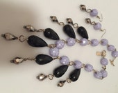 Art Deco Style FRINGED Necklace LAVENDER & French Jet Faceted Glass Beads Matching Earrings HANDCRAFTED Inspired by Amber Jewelry