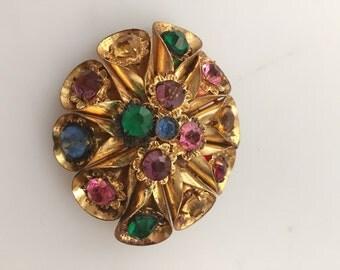 1930s Vintage CZECH Brooch Gilded Brass & Glass Brooch Vintage Brass Pin TOHECO SLOVAQUIE Czechoslovakia
