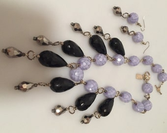 Art Deco Style FRINGED Necklace LAVENDER Glass French Jet Faceted Glass Beads Matching Earrings HANDCRAFTED Inspired by Amber Jewelry