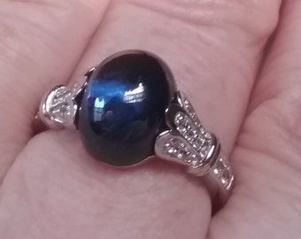 Sapphire Engagement Ring - Art Deco Sapphire Cabochon Engagement Ring