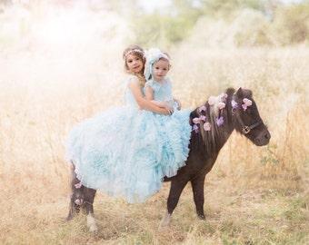 "Flower headabnd Baby Blue flower matches Dollcake ""Her Baby Blues"" Vintage Lux Ivory Cream, blue and soft pale blush pinks Handmade"