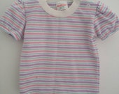 Vintage Healthtex girls shirt, purple, pink striped,  size 9 months