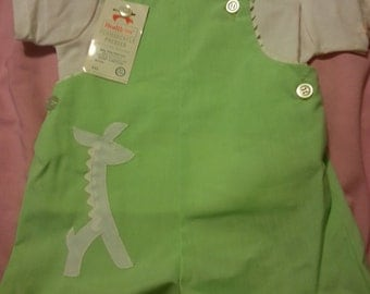 Vintage Healthtex overalls outfit, new old stock, mint green with giraffe, white button down shirt, 12 months