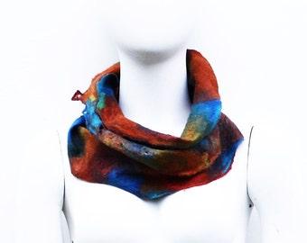 Cobweb felted circle scarf