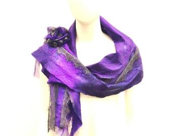 Purple Grey Wool Shawl