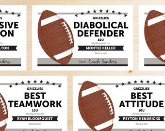 Football certificate | Etsy