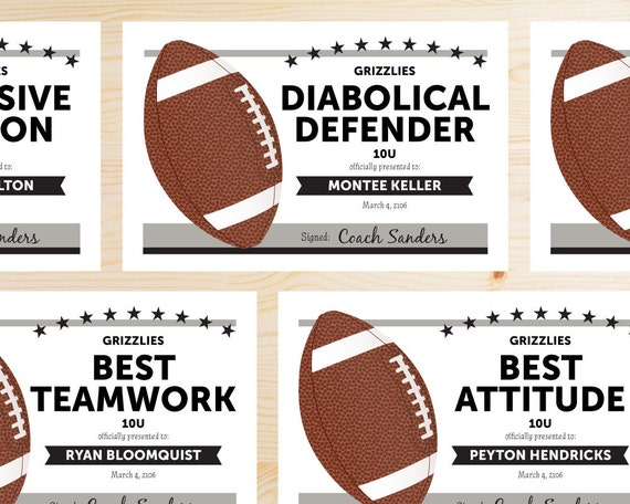 Editable football award certificates instant download for Football certificate templates
