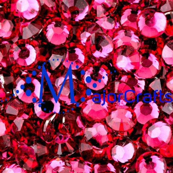 Dark Rose Pink Flat Back Round Resin Rhinestones Embellishment Gems C25