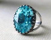 Light Turquoise | Crown Ring | Swarovski Crystal | Adjustable | Antique Silver | Crown Ring | Bridal Jewelry | Wedding Gift | Gift For Her